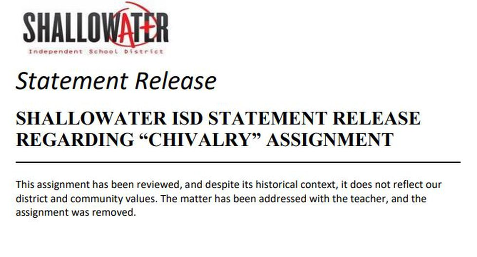 Shallowater ISD Statement Release on Chivalry Assignment
