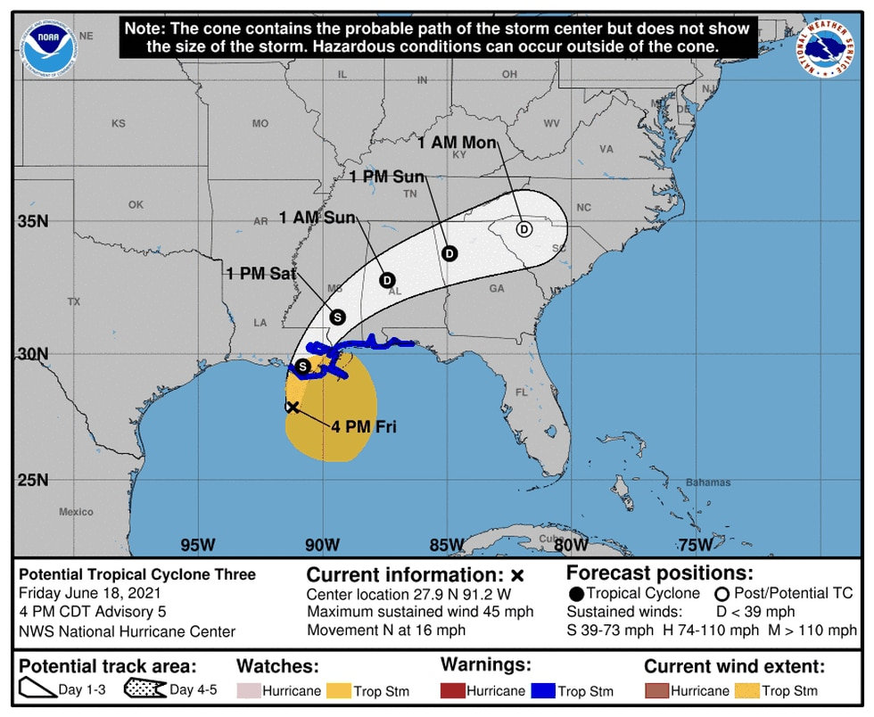 Forecast track from the National Hurricane Center June 18.