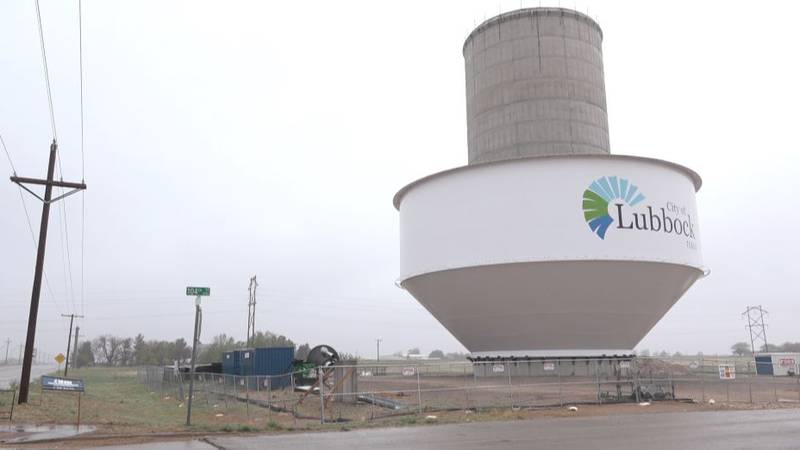 """The City of Lubbock prepares to lift a water """"bowl"""" to the top of its elevated water storage..."""