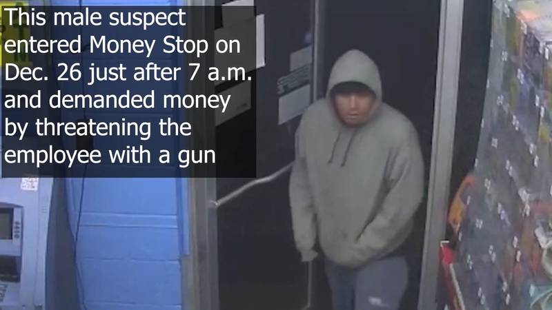 Police are looking for a male suspect who entered Money Stop and demanded money, threatening...