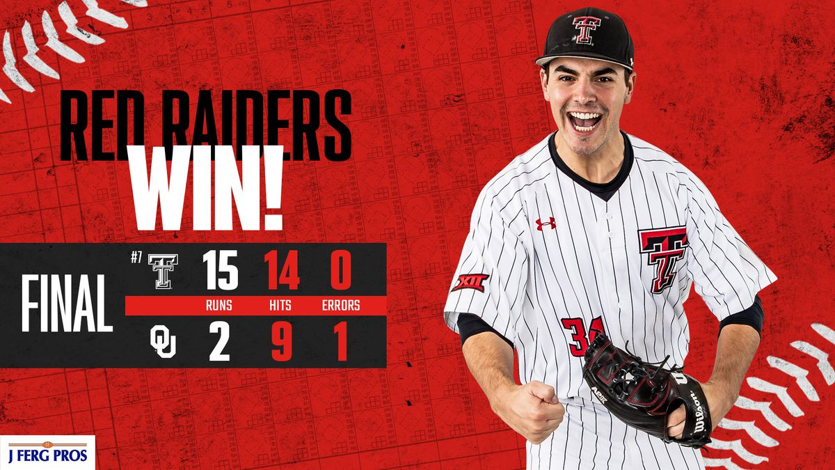 Texas Tech baseball bounced back in game two of their series against Oklahoma, winning 15-2.