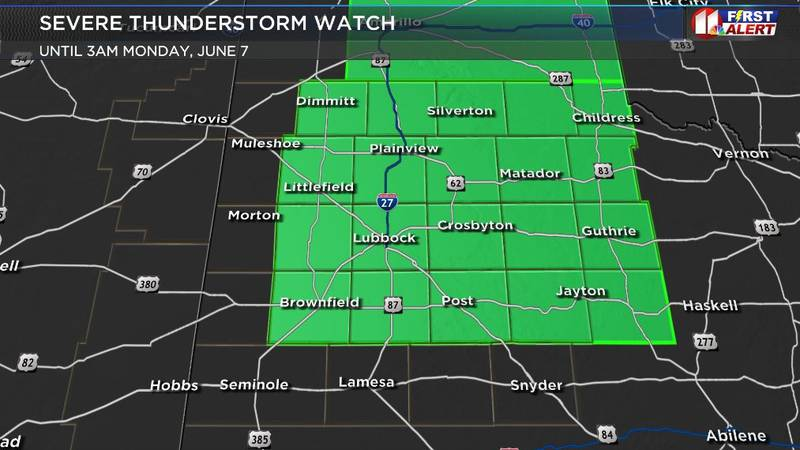 A Severe Thunderstorm Watch is in place for Lubbock and much of the South Plains until 3 a.m.