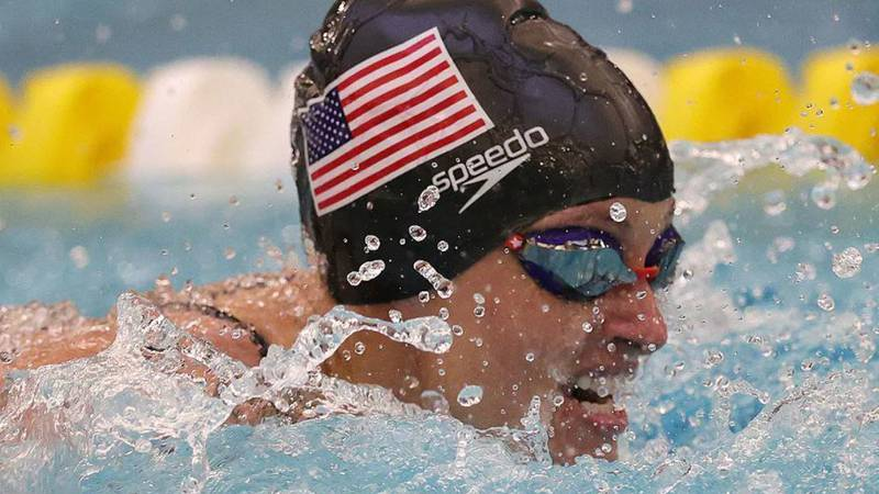 Sgt. 1st Class Elizabeth Marks in the Women's 50-meter butterfly finals at the 2021 U.S....