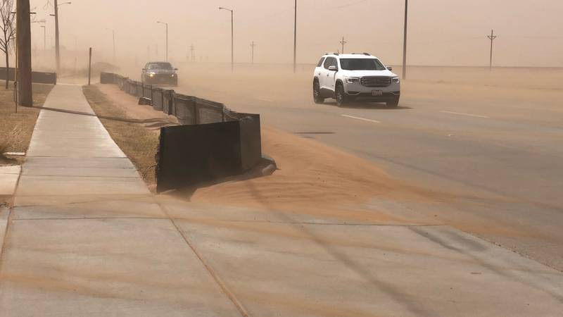 Sky filled with dust driven by 60mph winds on Wednesday.