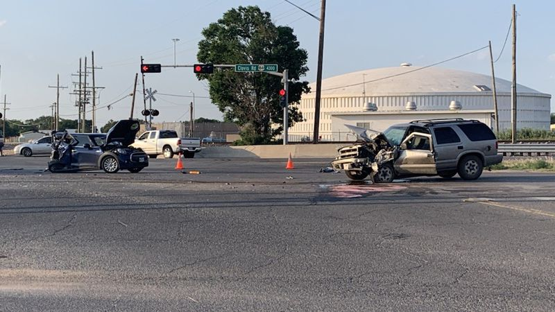 First responders are on the scene of a two-vehicle wreck with multiple injuries at N. Quaker...
