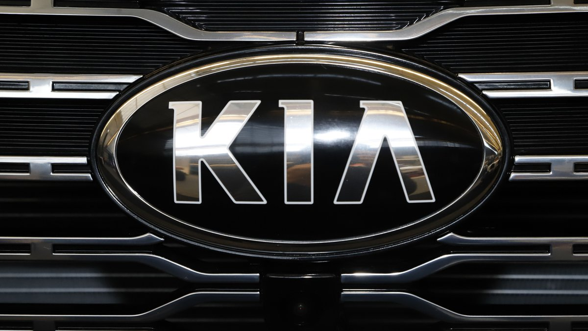 This is the front grill of a 2020 KIA Telluride on display at the 2020 Pittsburgh International...