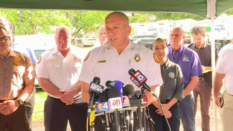 Miami-Dade Fire Rescue Assistant Chief Raide Jadallah speaks on Day 2 of rescue efforts in the...
