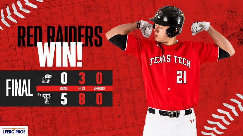 Texas Tech secured the series win over Kansas with a 5-0 shutout Saturday afternoon.
