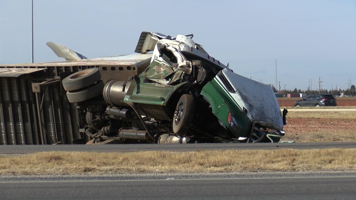 Freight truck collision from Friday afternoon (Source: KCBD Video)