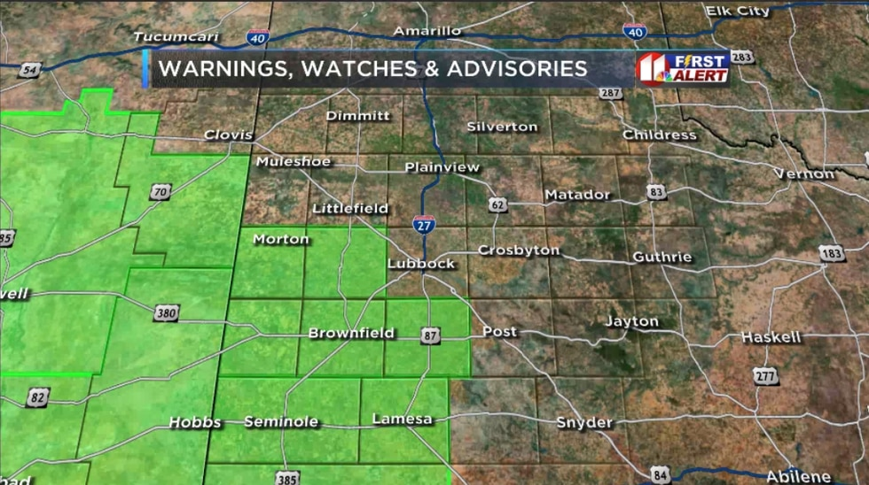 A Severe Thunderstorm Watch has been issued for the counties in green until 7 PM.