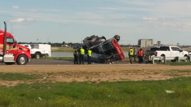 TRAFFIC ALERT: Crash involving rolled crane truck has stopped traffic on Marsha Sharp Freeway
