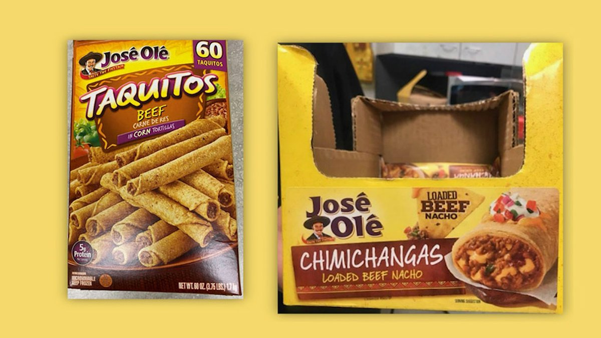 Multiple types of beef and chicken taquitos and chimichangas are included in the alert.