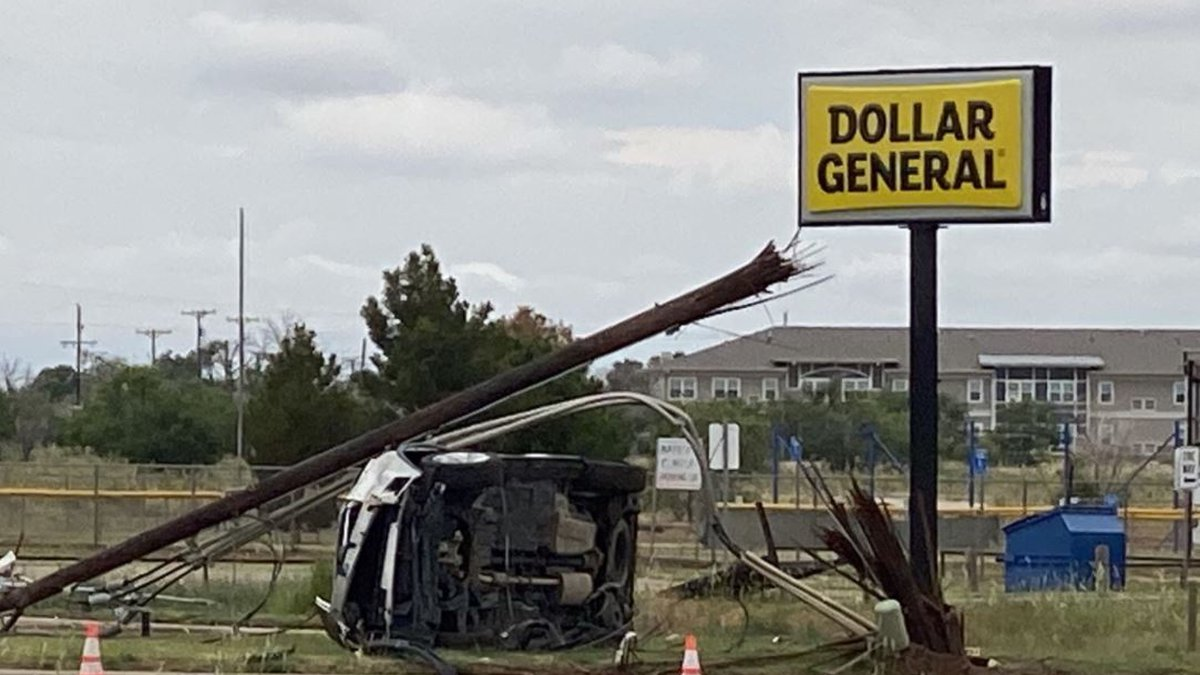 A woman in Wolfforth crashed through a utility pole.