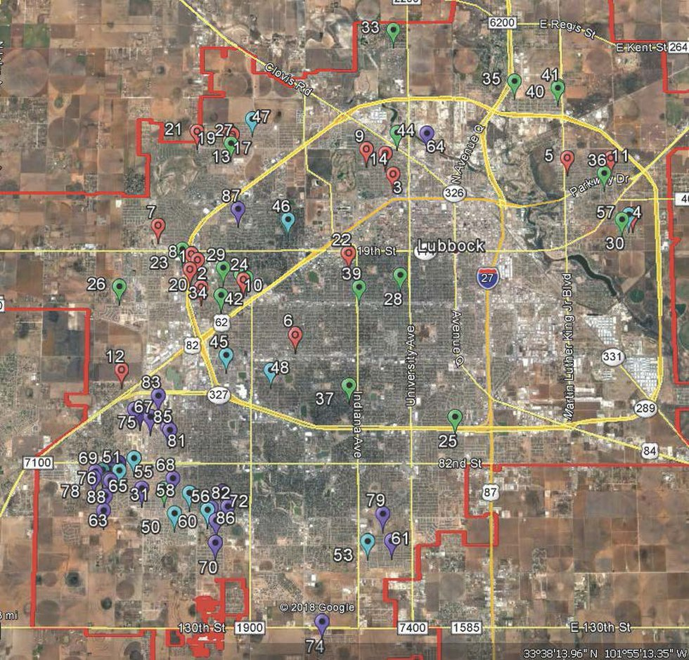 Map of Odor complaint locations from City of Lubbock. The city has received more than 80 calls...