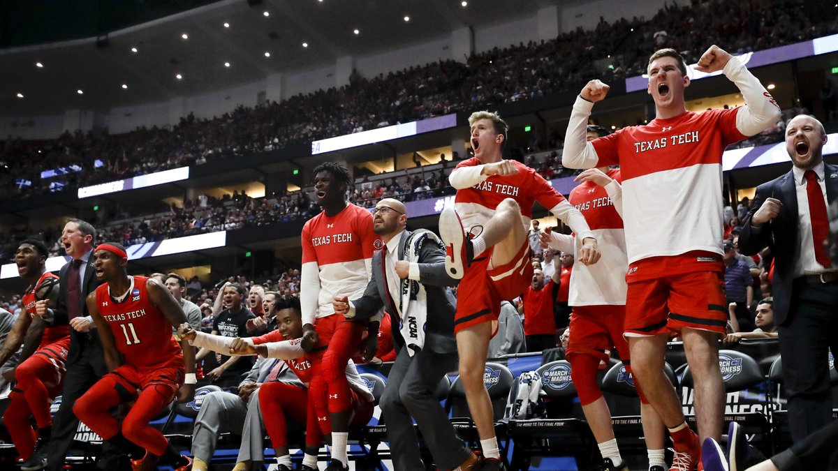 Texas Tech celebrates after the team scored against Gonzaga during the second half of the West...