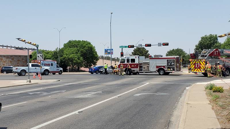 Southbound traffic on Quaker Ave. and westbound traffic on the access road of South Loop 289...