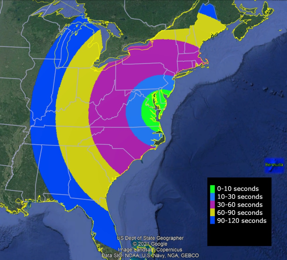 This map shows when the rocket may be visible after launch from NASA's Wallops Flight Facility....