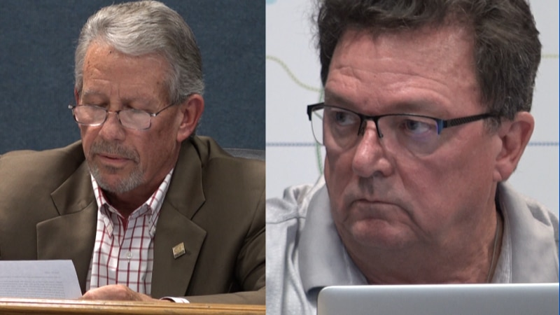 Wolfforth mayor Mike Wright (left) and city manager Darrell Newsom handed in their resignations...