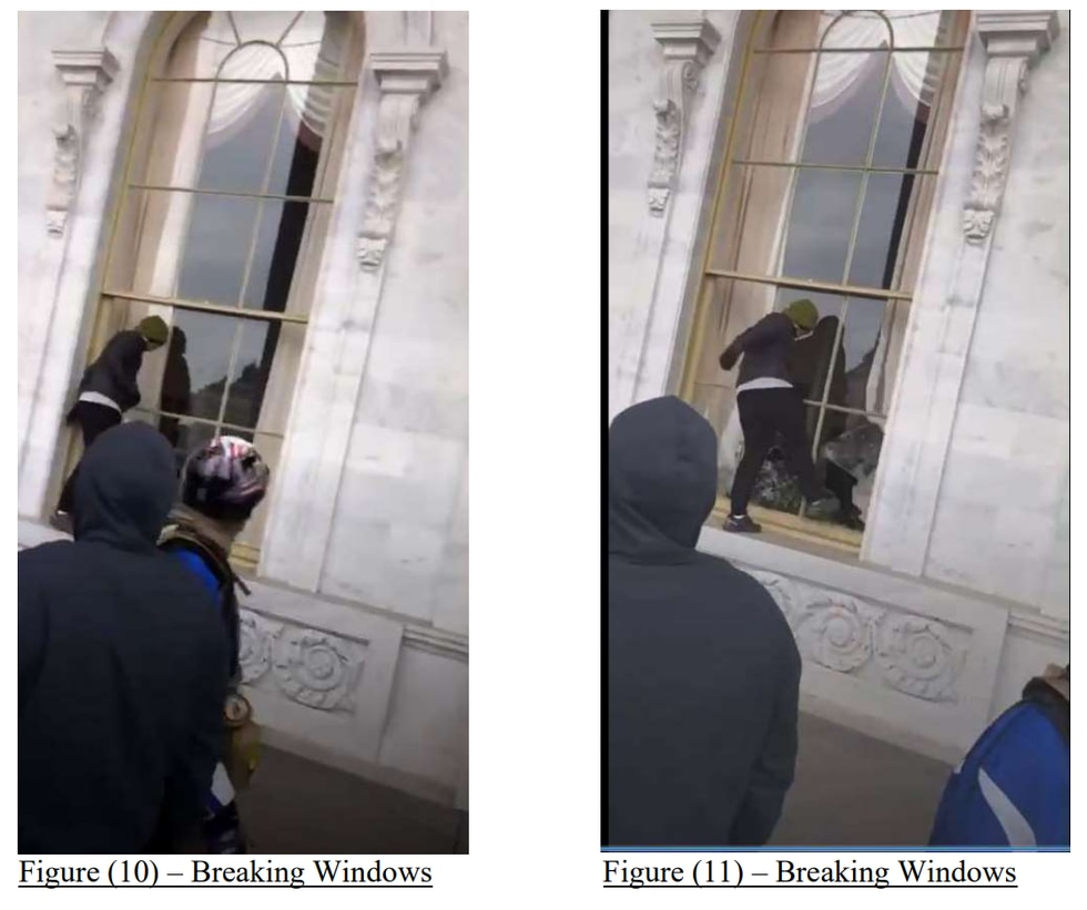 Screenshot from the FBI Statement of Facts, black clad figure breaking windows at the Capitol,...