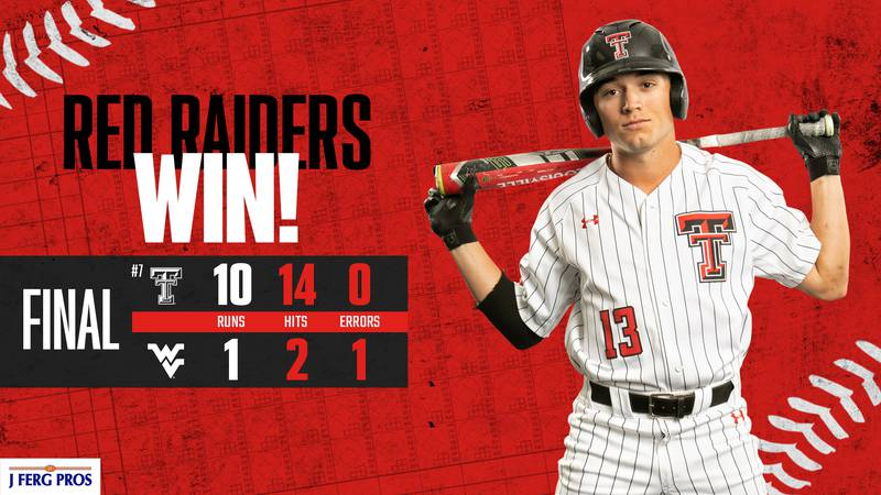 Texas Tech secured another Big 12 series win with a 10-1 win over West Virginia Sunday afternoon.