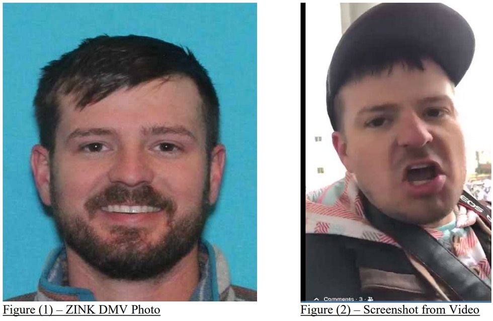 Ryan Zink DMV photo compared with screenshot from Facebook video
