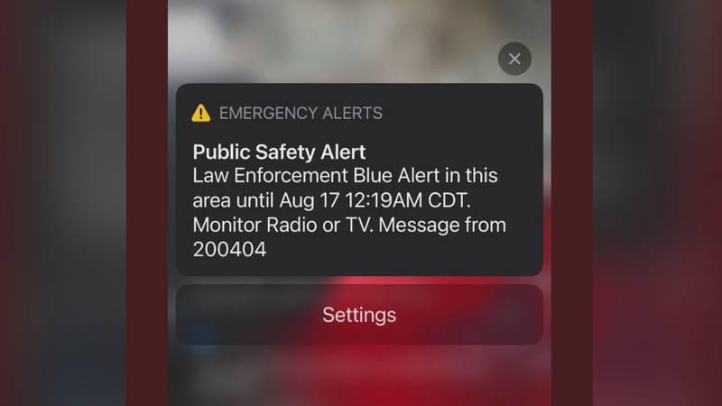 Blue Alert sent Monday night after 11 p.m.