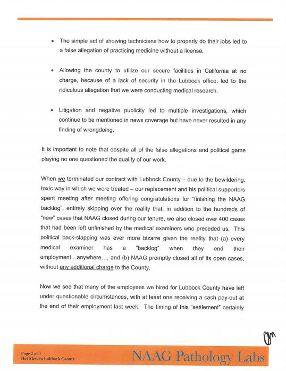The following letter was sent to the County Judge concerning the Medical Examiners Office