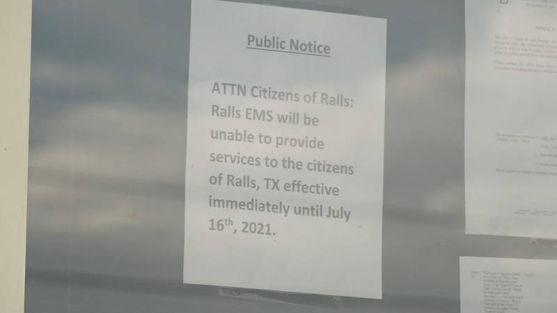 Wednesday a public notice was posted in Ralls notifying citizens Ralls EMS is unable to provide...