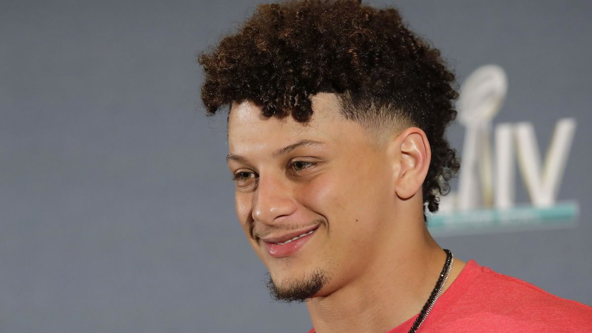 Kansas City Chiefs quarterback Patrick Mahomes (15) speaks during a news conference on Monday,...