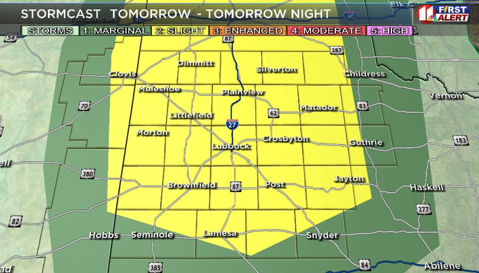 Slight risk for severe weather in the South Plains for the 4th of July