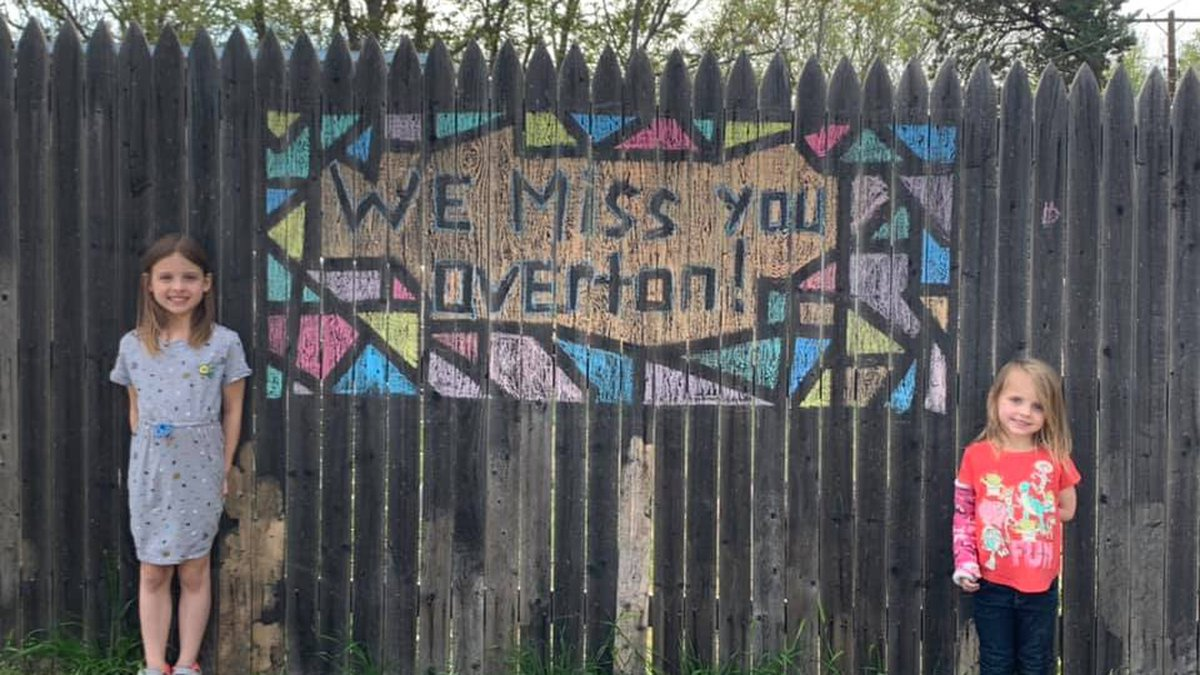 Students from Overton Elementary School in Lubbock painted a kind message on their fence....