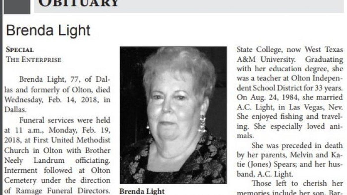 Brenda Light Obituary (Source: Provided by family)
