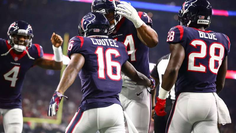 Lufkin's Keke Coutee celebrates after his first NFL touchdown.
