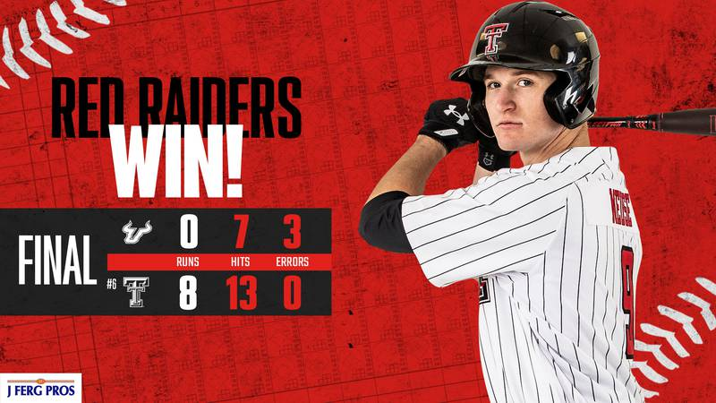 Texas Tech baseball shut out the University of South Florida in the second game of their...