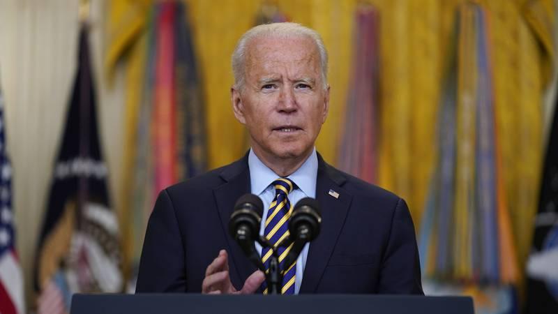 President Joe Biden speaks in the East Room of the White House, Thursday, July 8, 2021, in...