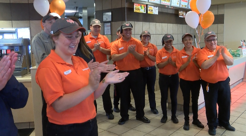 Whataburger employees on 11441 Quaker Ave. celebrating Danny and B.J.'s 62nd anniversary.