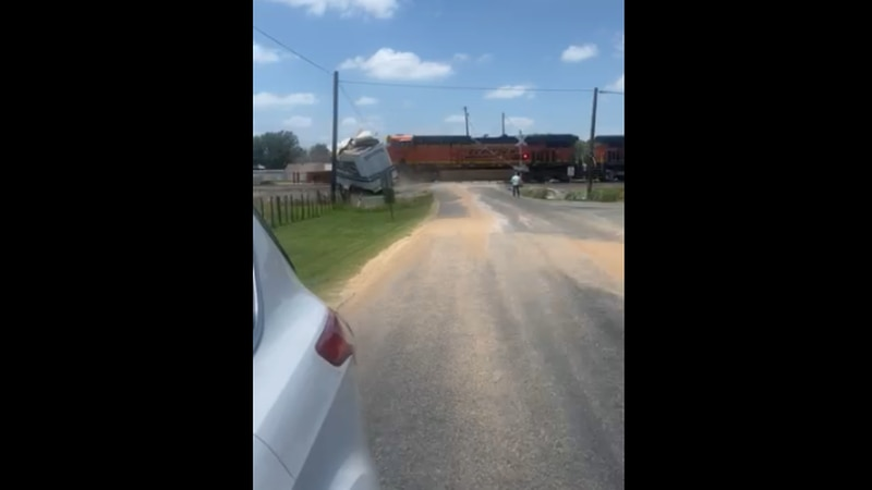 Train collides with semi truck in Moody, Texas.