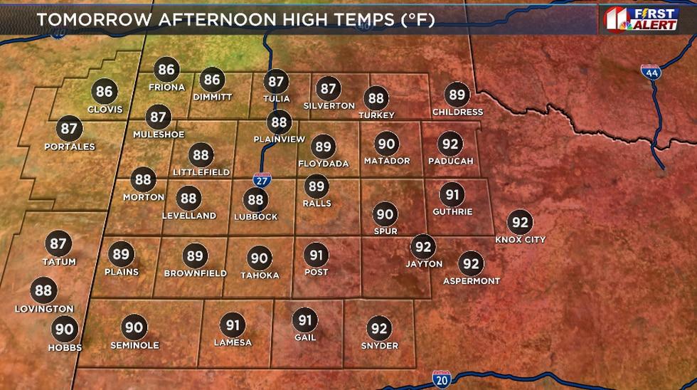 A bit cooler tomorrow across the South Plains