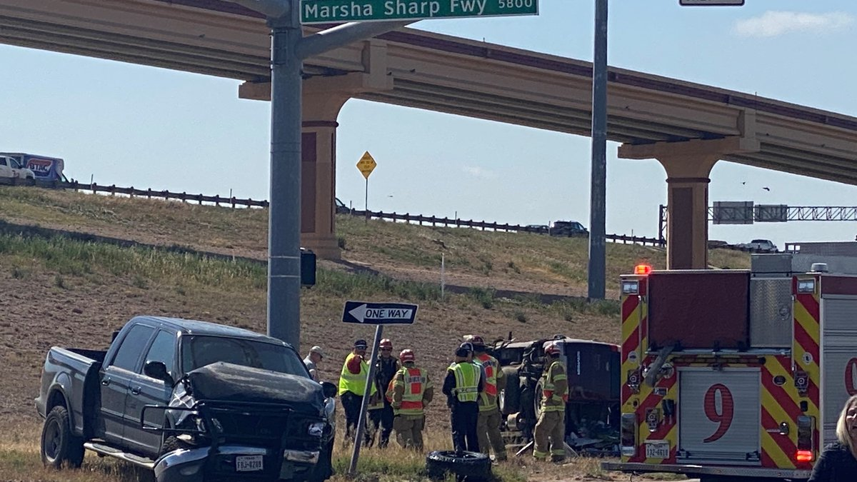 One was taken to the hospital after a crash on the access road at West Loop 289 and Marsha...