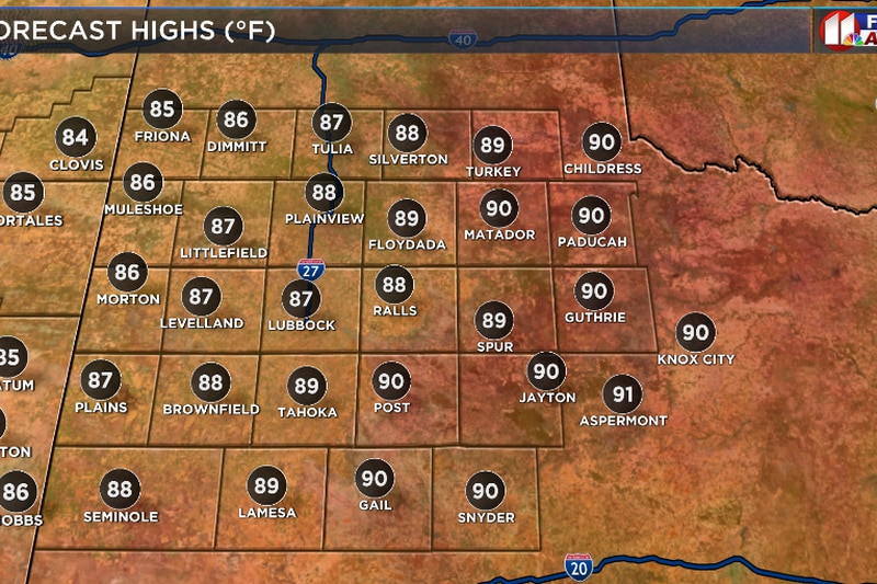 Warm temperatures for your Saturday