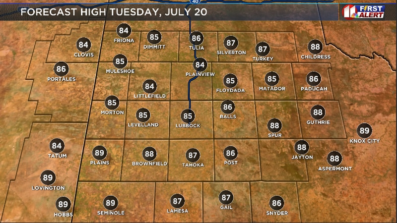 Forecast high for Tuesday afternoon