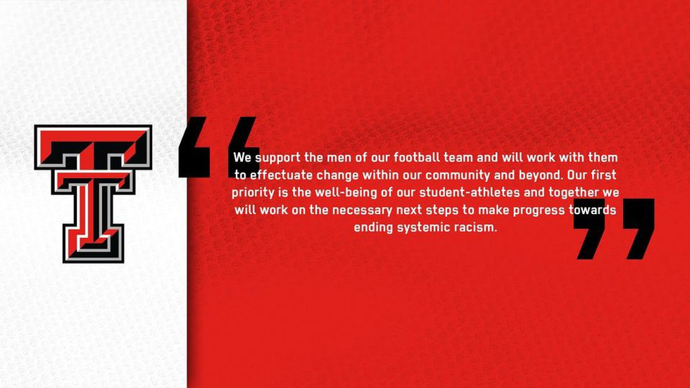 Texas Tech Athletic Department response to players joining protest