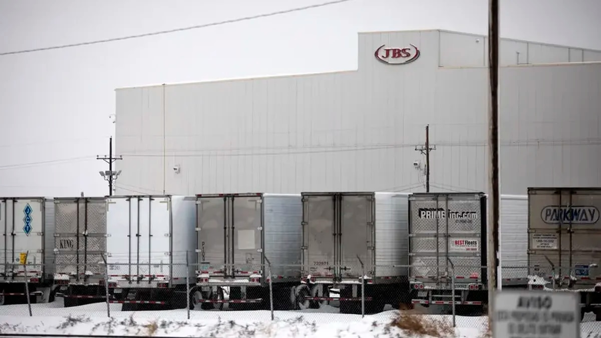 The JBS beef processing plant in Cactus on Jan. 28, 2020.