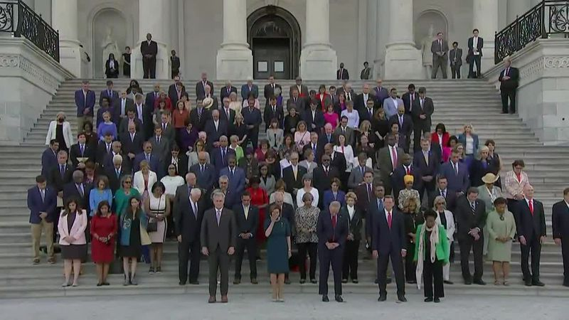 Congressional leaders hold a moment of silence in remembrance of the nearly 600,000 who have...