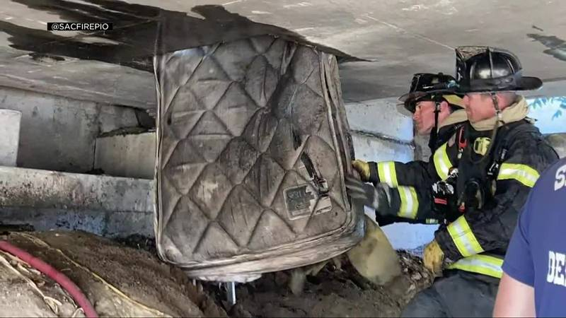 Evidence of human habitation was found inside a highway overpass that caught fire in Sacramento...
