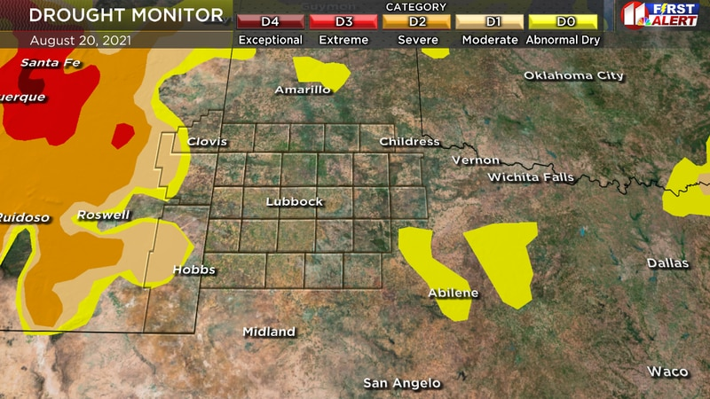 Drought-free conditions continue across the KCBD viewing area. This Drought Monitor is valid...