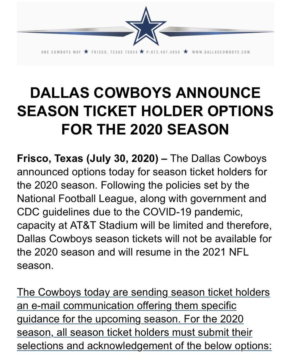 Cowboys Season Ticket announcement