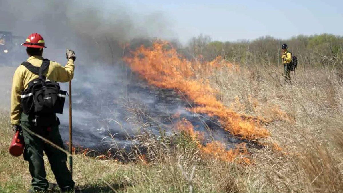 A burn crew monitors a prescribed burn intended to improve habitats for native plants and...