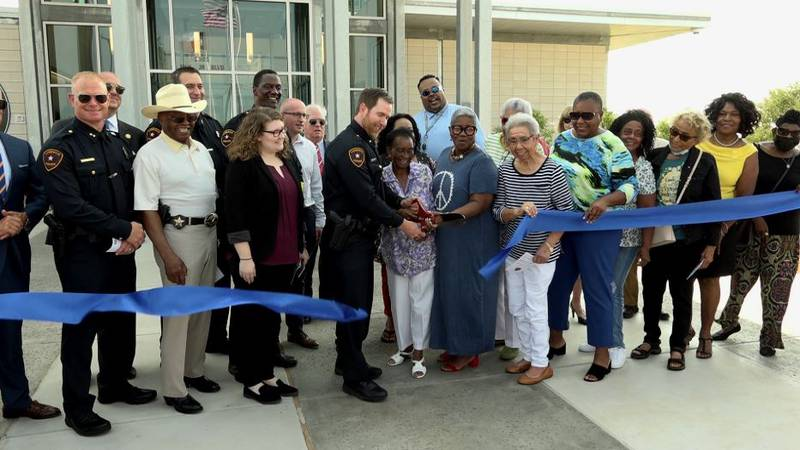 A ribbon cutting ceremony is held for the East Patrol Division Station