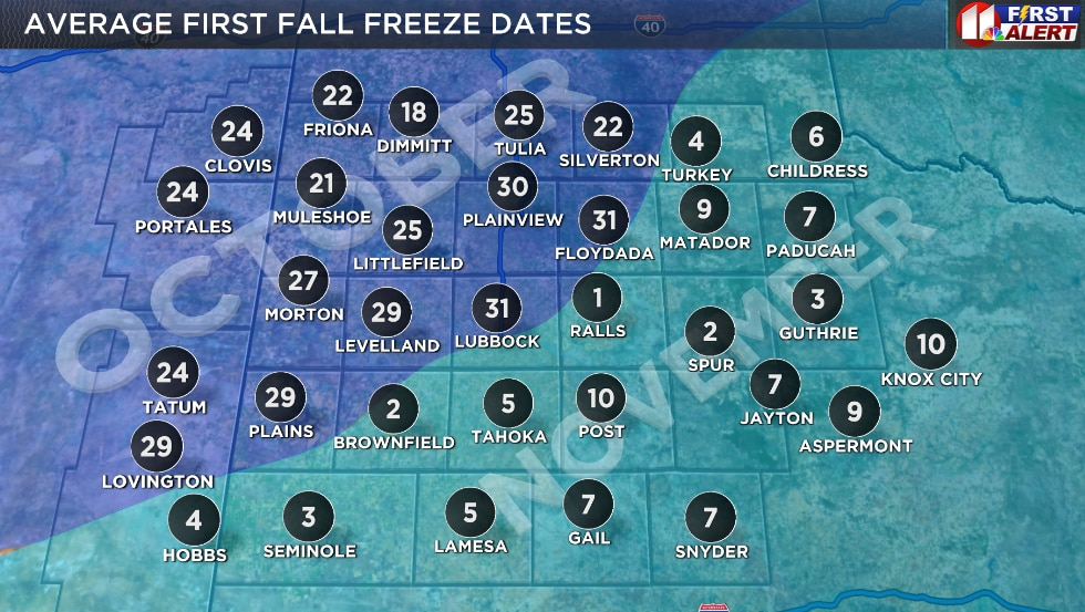 Average dates of the first freeze (32°F) in the Fall. Dates in the darker blue fall in October,...
